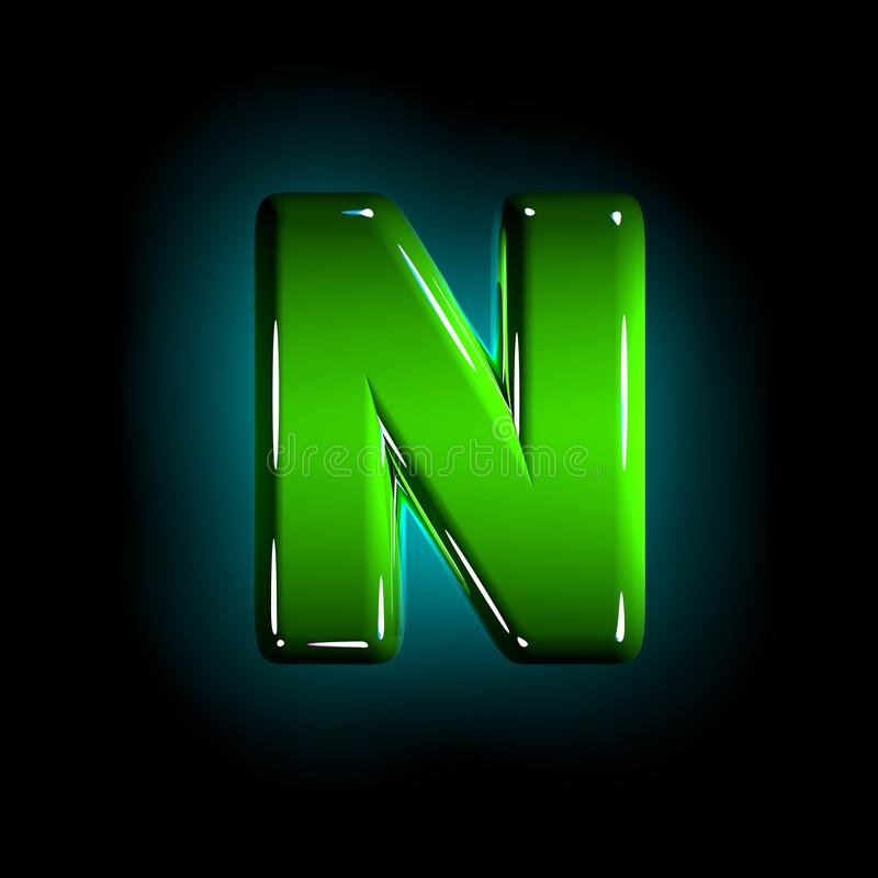 Glossy green plastic creative font - letter N isolated on black background, 3D illustration of symbols. Green letter N of shining plastic alphabet of white and vector illustration