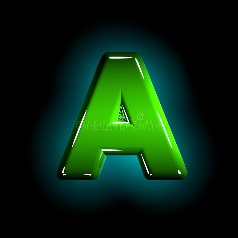 Green letter A of shining plastic font of white and yellow colors isolated on black color - 3D illustration of symbols. Shine green plastic design alphabet royalty free illustration