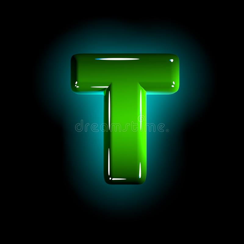 Shine green plastic design font - letter T isolated on black background, 3D illustration of symbols. Green letter T of shining plastic alphabet of white and royalty free illustration