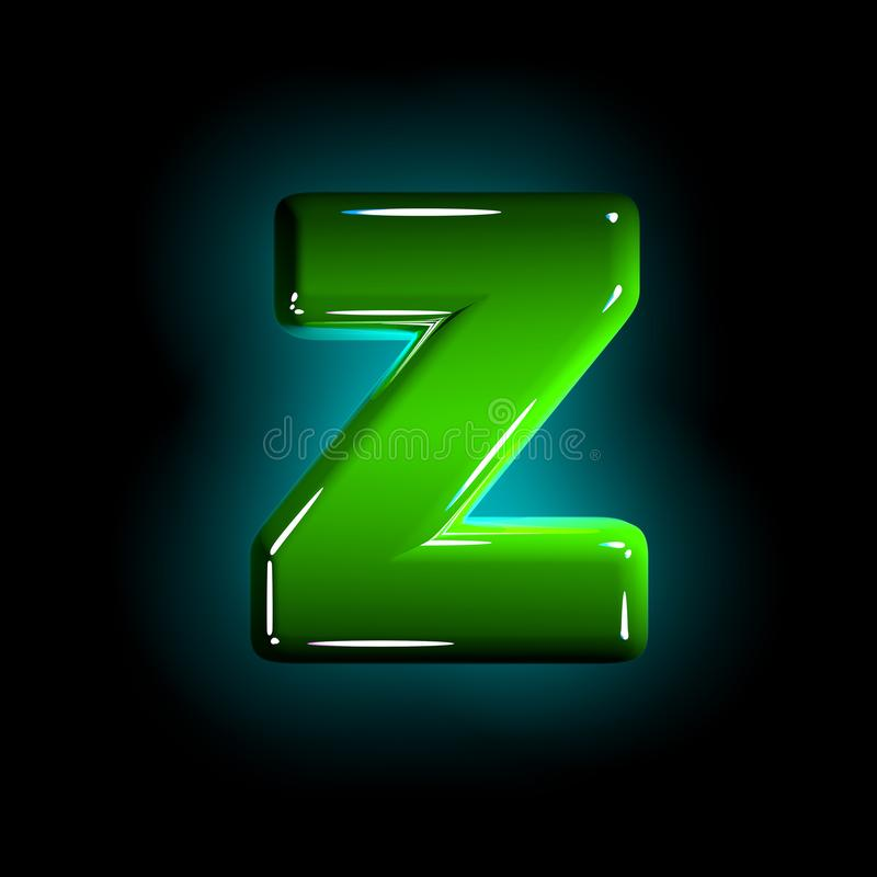 Green letter Z of glossy plastic font of white and yellow colors isolated on black color - 3D illustration of symbols. Glossy green plastic creative alphabet royalty free illustration