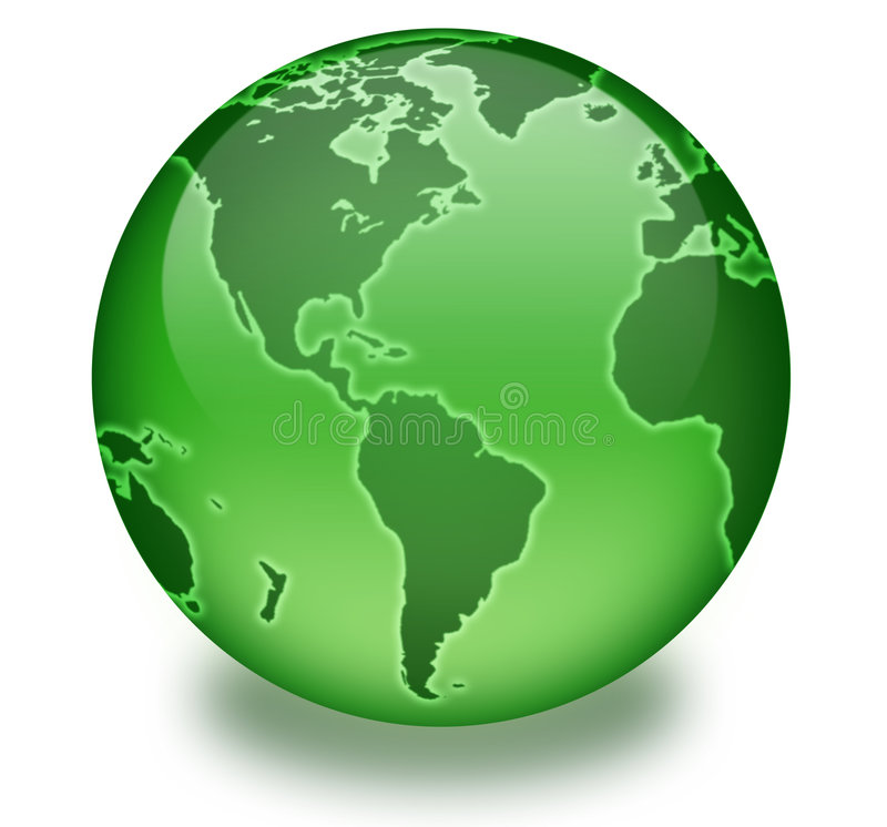 Green Life Globe. Shiny green globe created in Photoshop. White background with drop shaddow