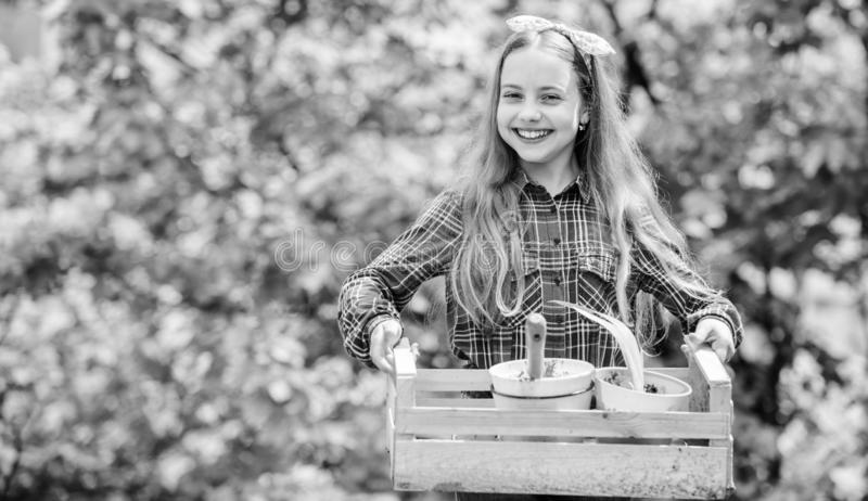 Green life. little girl kid in forest. spring village country. ecology environment. Happy childrens day. little girl. With gardening tools. earth day. summer stock photos