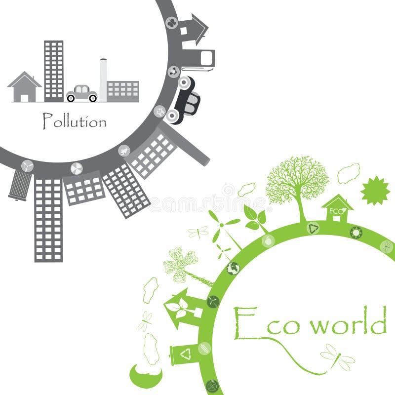Green life vs. pollution royalty free illustration