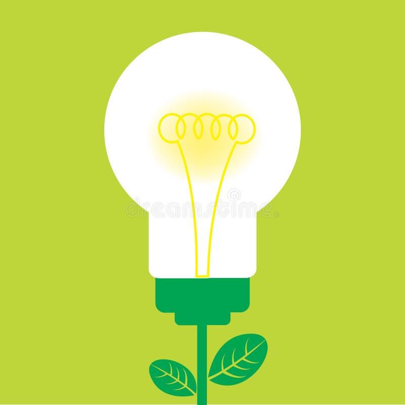 Green light bulb vector illustration