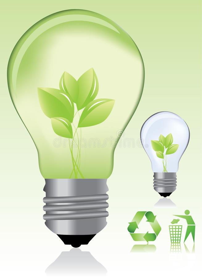 Green Light Bulb And Ecology Icons Stock Images