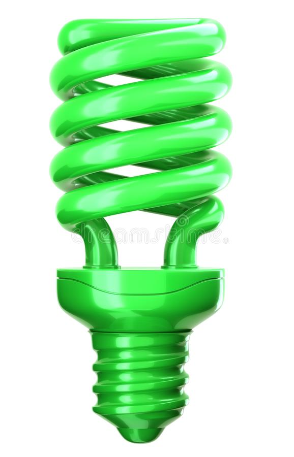 Green light bulb: efficiency and eco friendly technology. On white stock images