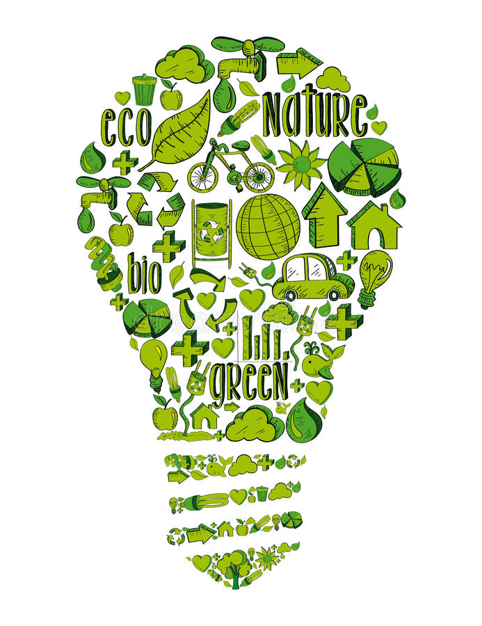 Green light bulb with environmental icons stock illustration