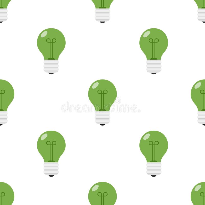 Free Green Light Bulb Flat Icon Seamless Pattern Stock Images - 101651334