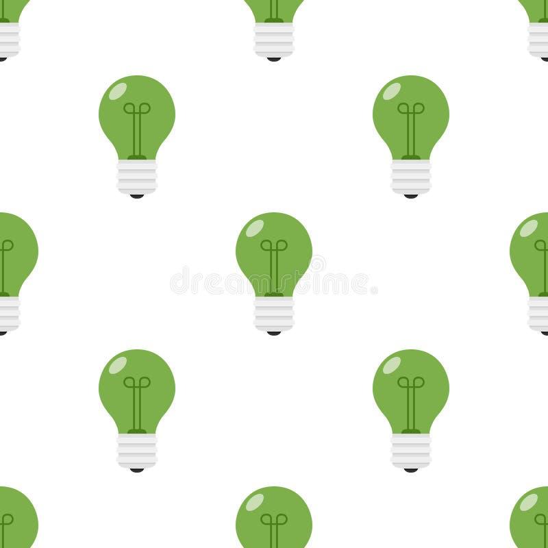 Green Light Bulb Flat Icon Seamless Pattern royalty free illustration