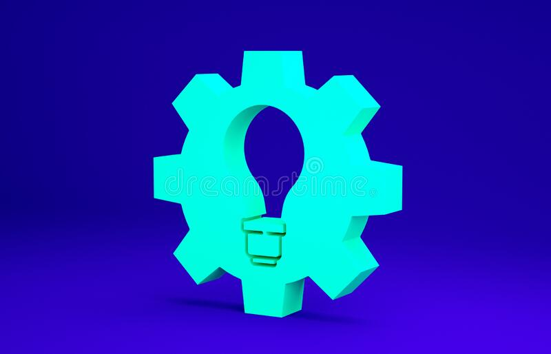 Green Light bulb and gear icon isolated on blue background. Innovation concept. Business idea. Minimalism concept. 3d. Illustration 3D render royalty free illustration