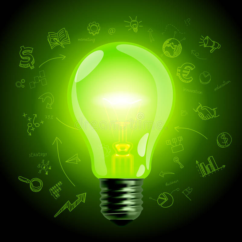Free Green Light Bulb On Hand Drawn Business Icons Background Stock Photography - 67505452