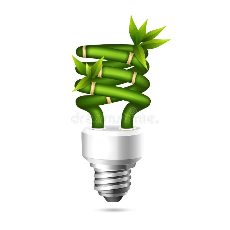 Green light bulb. Vector illustration of an ecological energy saving bulb stock illustration