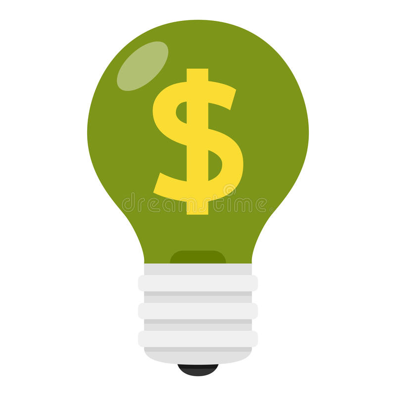 Free Green Light Bulb With Dollar Sign Flat Icon Stock Photos - 92360013