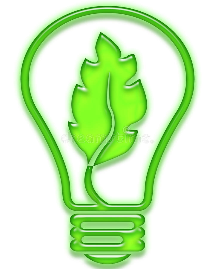 Free Green Light Bulb With Leaf Royalty Free Stock Photography - 17552507