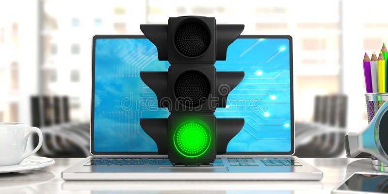 Green light. Traffic light, green go signal, on a computer, office background. 3d illustration stock illustration