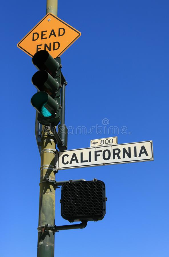 Green light at Dead End and California street signs. Green light at Dead End and California street traffic signs royalty free stock photography
