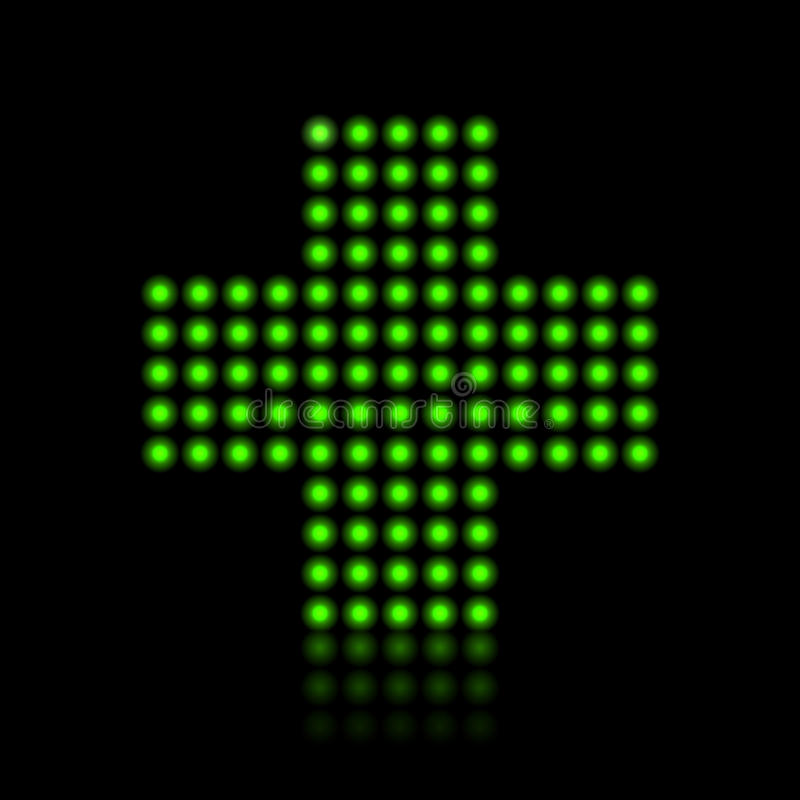 Green light dots cross royalty free illustration