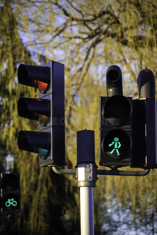 Green light for pedestrians and red for cars royalty free stock image