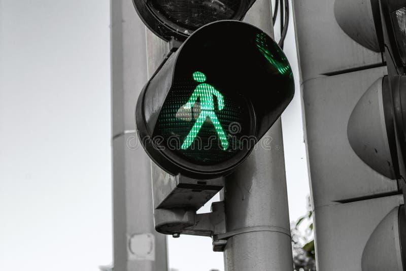 Green light for pedestrians stock photos