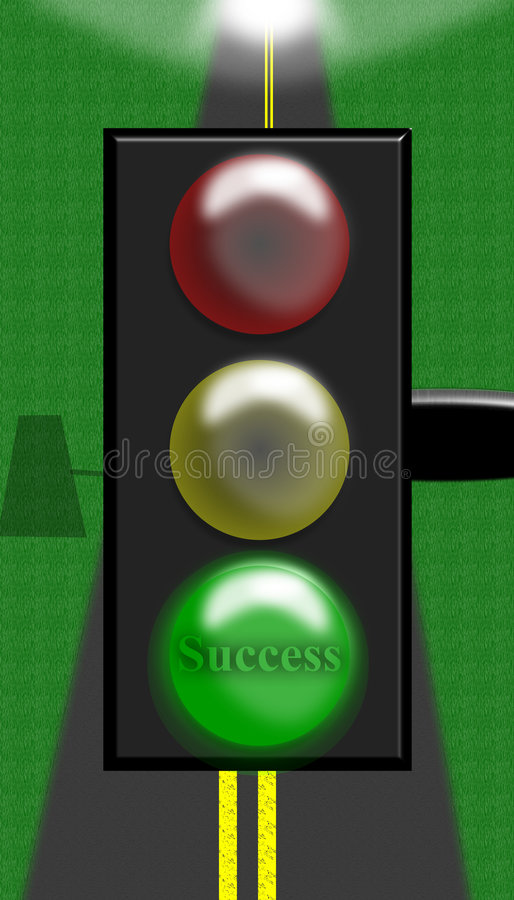Green Light on the Road to Success stock illustration