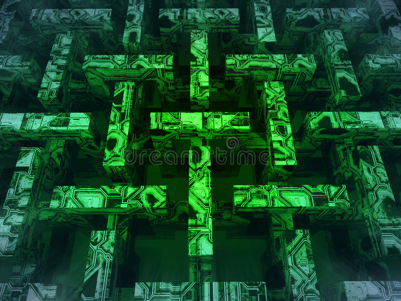 Green lighted abstract horizontal web structure. Illustration vector illustration
