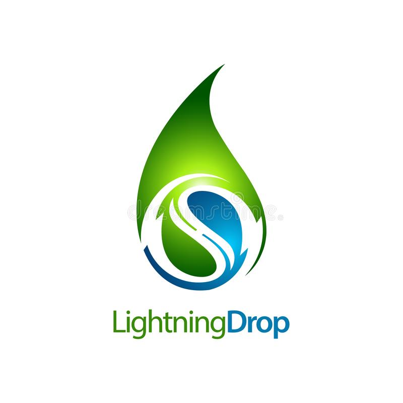 Green lightning water drop logo concept design. Symbol graphic template element. Vector royalty free illustration