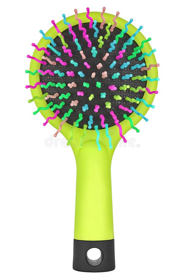 Green lime hair comb brush for children with handle and multicolored bristles, isolated on transparent or white background. Front royalty free stock images