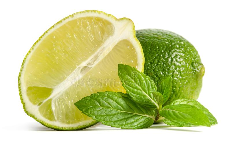Green lime and mint with half of juicy lime stock image