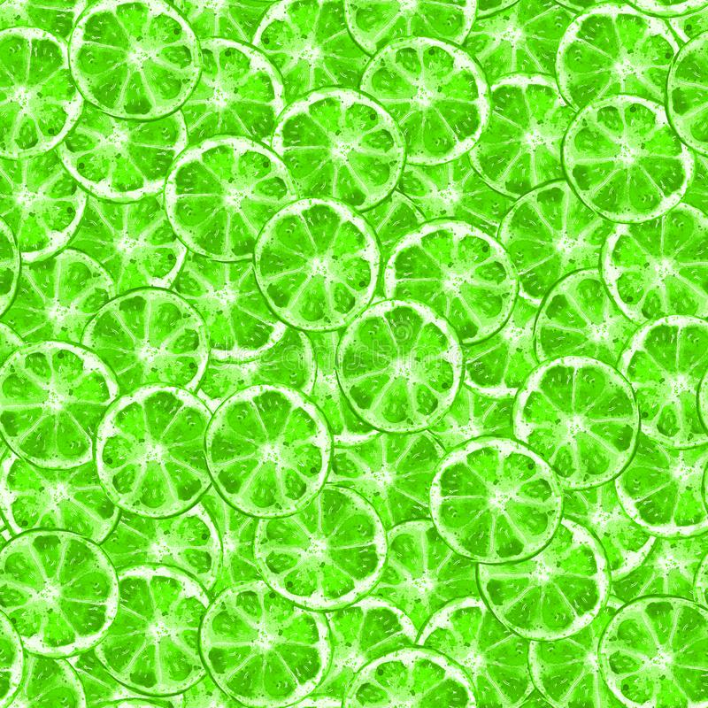 Green lime slice seamless pattern. Watercolor illustration. Summer fruit background. Design for textile, fabric, paper vector illustration