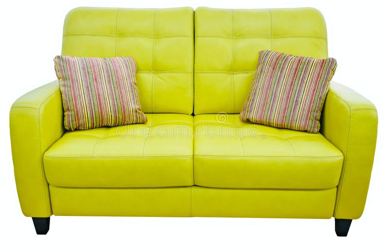 Green lime sofa with pillow. Soft lemon couch. Classic pistachio divan on isolated background stock photos