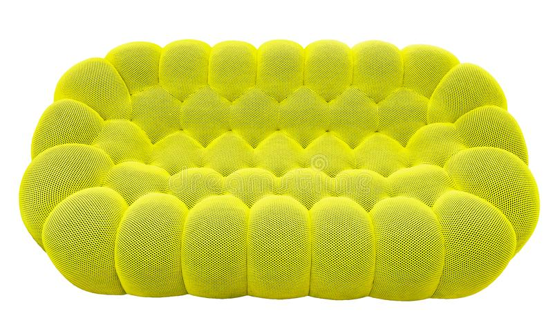 Green lime sofa with pillow. Soft lemon couch. Classic pistachio divan on isolated background royalty free stock photo