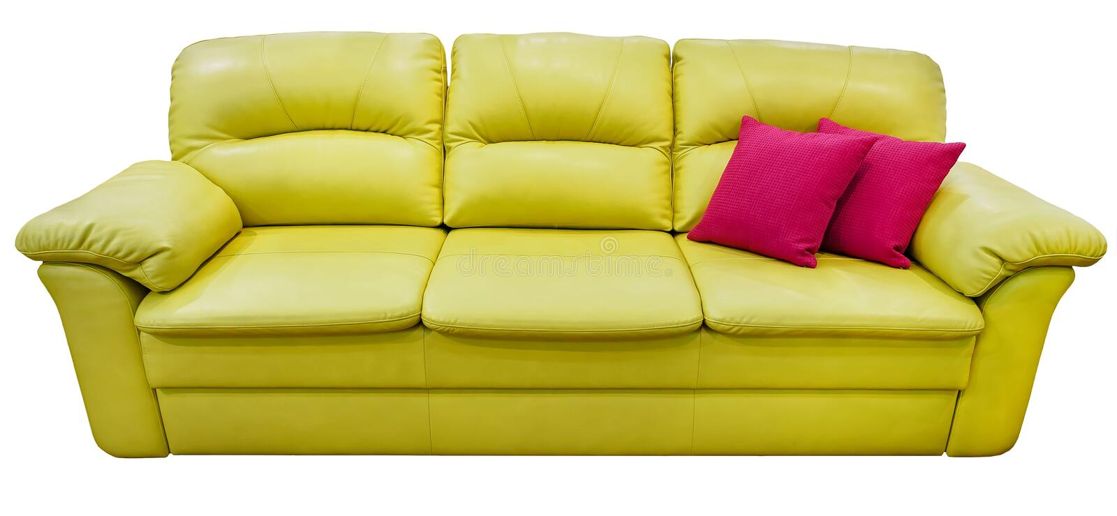 Green lime sofa with pink pillow. Soft lemon couch. Classic pistachio divan on isolated background stock photos