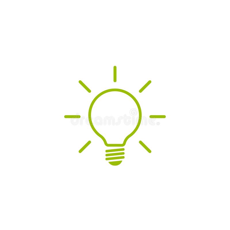 Green line bulb with rays flat icon. isolated on white. Electric Light icon. New business idea. New technology. Eco Idea. Design thinking. Vector illustration royalty free illustration