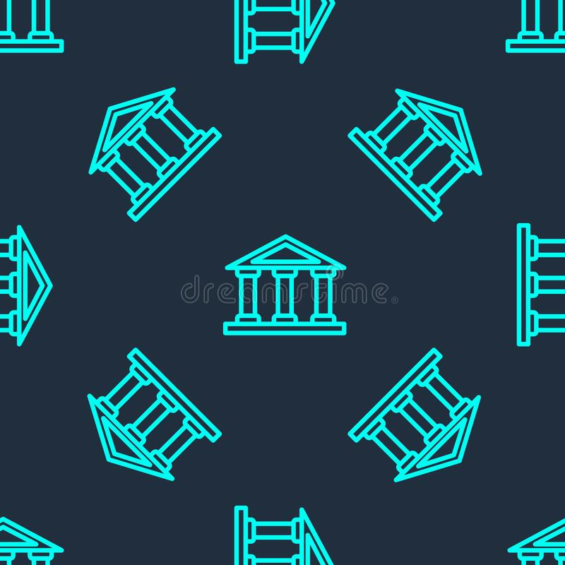 Free Green Line Courthouse Building Icon Isolated Seamless Pattern On Blue Background. Building Bank Or Museum. Vector Royalty Free Stock Image - 200149846