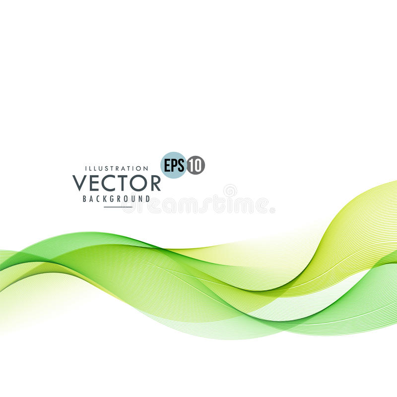 Green line waves blending together. Vector background stock photo