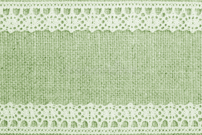 Green Linen And Lace. Background royalty free stock photography