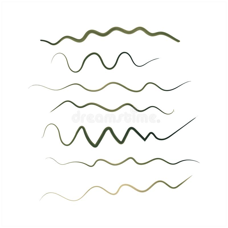 Green lines. Set of abstract green watercolor brush strokes, wavy lines and scribbles. Vector elements, isolated on vector illustration