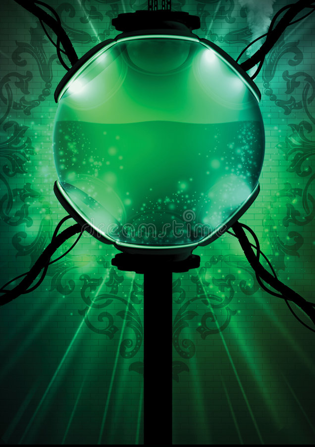 Green Liquid Biosphere. An abstract illustration of a green colored liquid biosphere on a floral design vector illustration