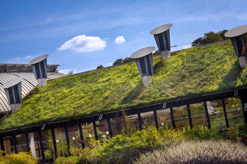 Green Living Roof. Eco Friendly Building. An environmentally friendly green living roof stock photos
