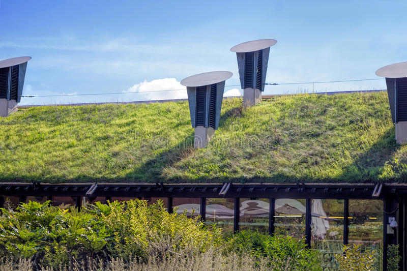 Green Living Roof. Environmentally Friendly Building. An environmentally friendly green living roof stock photography