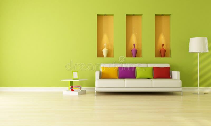 Green living room vector illustration