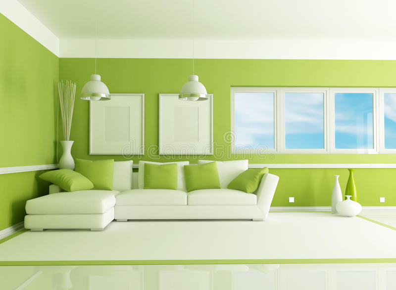 Green living room royalty free illustration