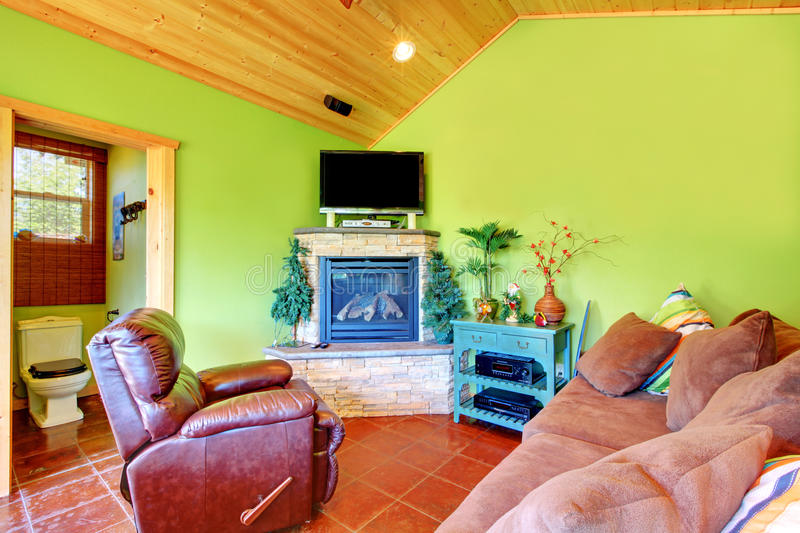 Green living room in a guest pool house. royalty free stock photos