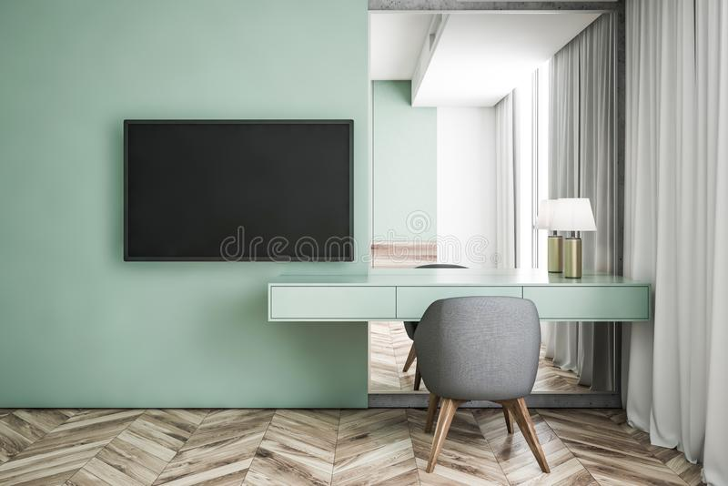 Green living room interior, table and TV. Interior of modern living room with green walls, wooden floor, makeup table with lamp, mirror and gray chair. Flat vector illustration