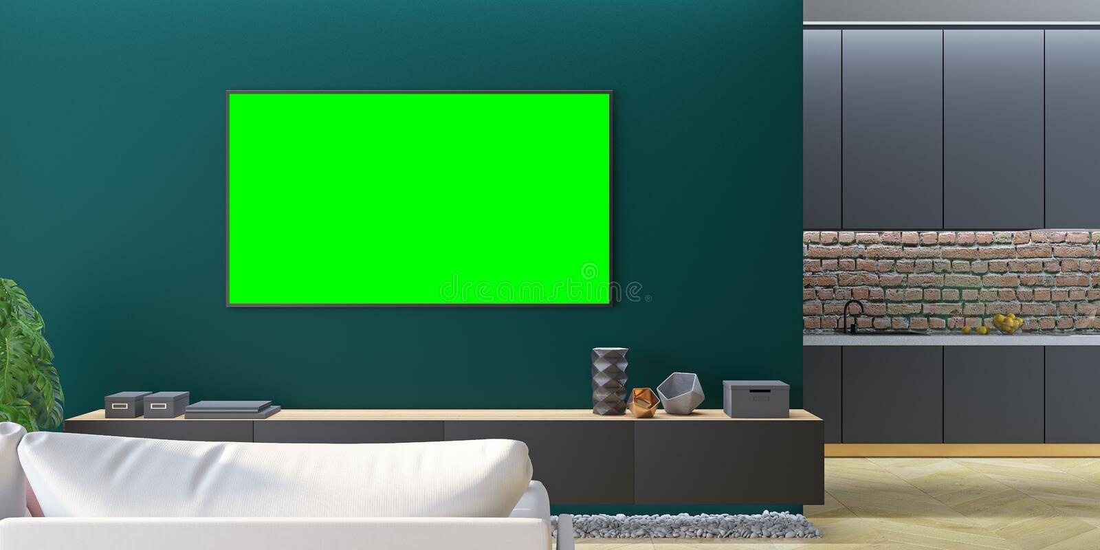 Green living room TV mock up with sofa, kitchen, console. stock illustration