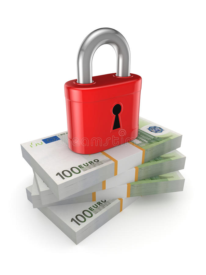 Green lock on a stack of euro. Isolated on white.3d rendered stock illustration