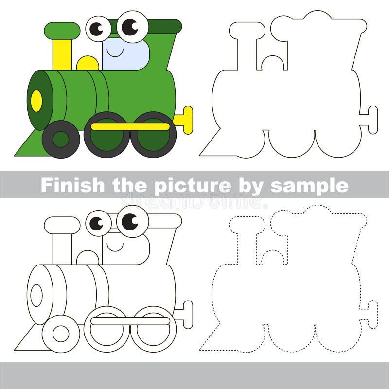 Green Locomotive Drawing Worksheet Stock Vector Illustration Of Step Tutorial 75234658