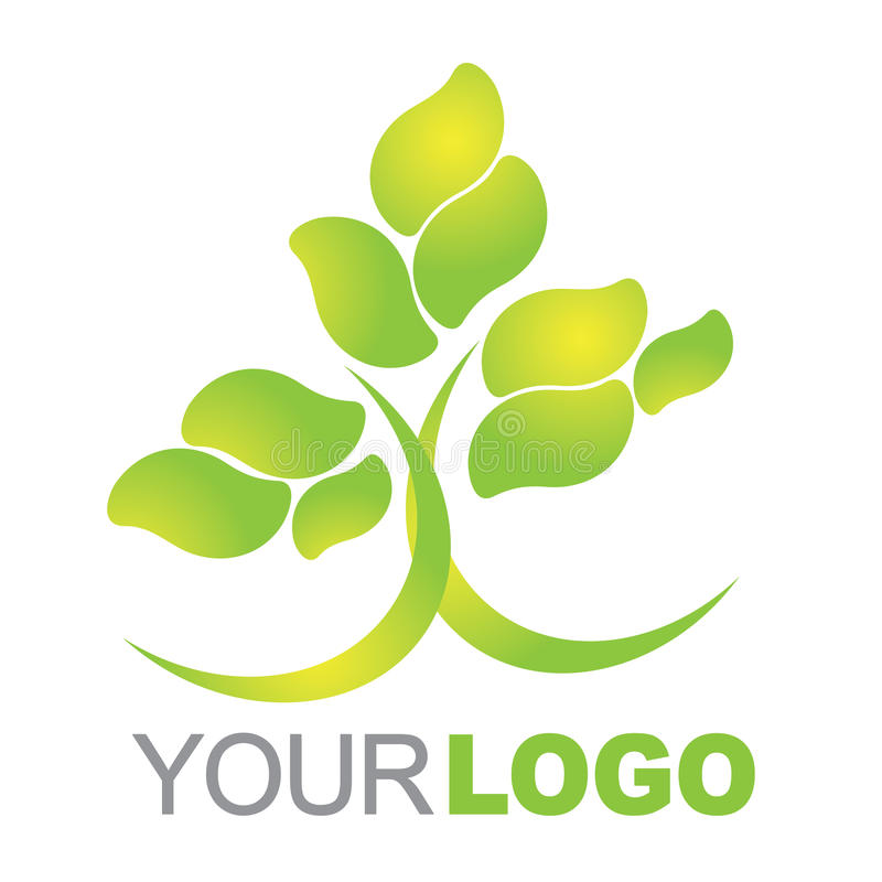 Green logo. Illustration of a green nature tree company logo isolated over white background