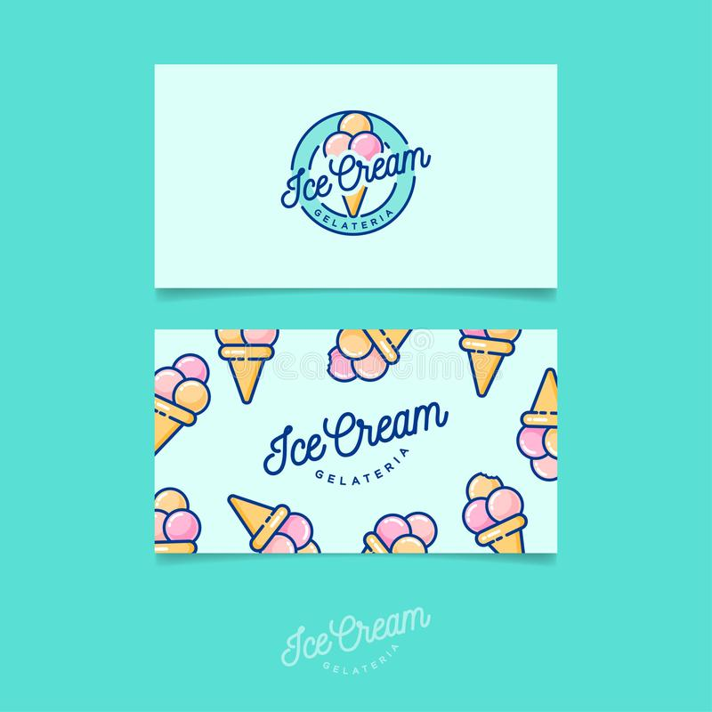 Green logo ice cream italian ice cream emblem logo and pattern business card royalty free vector download green logo ice cream italian ice cream emblem logo and pattern identity colourmoves