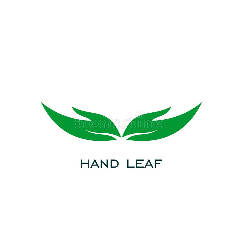 Hand leaf logo. open hand logo design, stock illustration